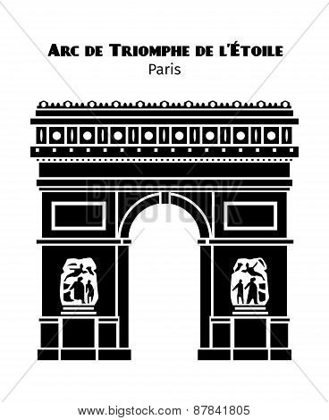 Arc de Triomphe in Paris vector black isolated silhouette