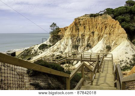 Algarve Scenario Footpatch Cliff Acess, At Falesia Beach.