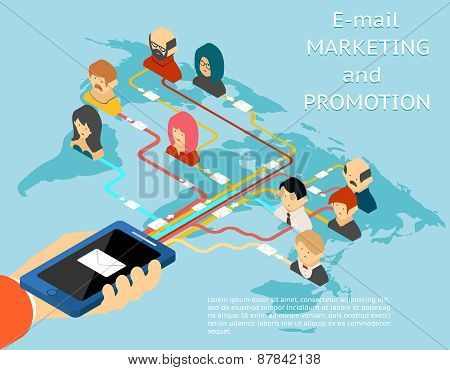 Email marketing and promotion mobile app isometric 3d illustration