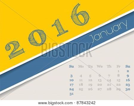 Simplistic January 2016 Calendar Design