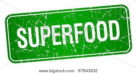 Superfood Green Square Grunge Textured Isolated Stamp