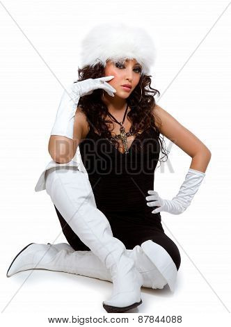 Woman In White Boots