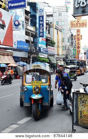 Tuk-tuk Moto Taxi On The Street In The Chinatown Area In Bangkok