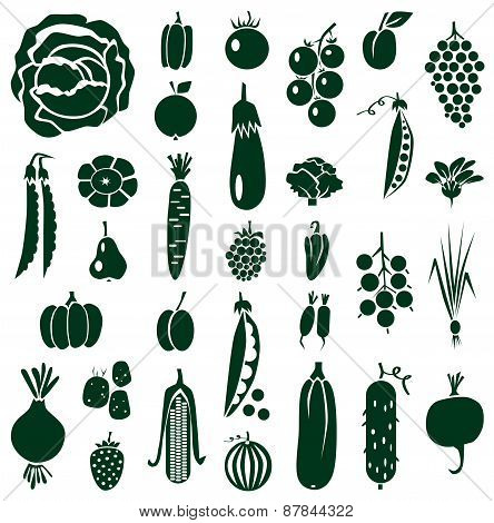 Fruit And Vegetables Icons On White