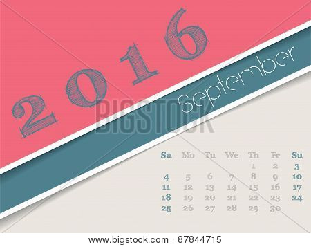 Simplistic September 2016 Calendar Design
