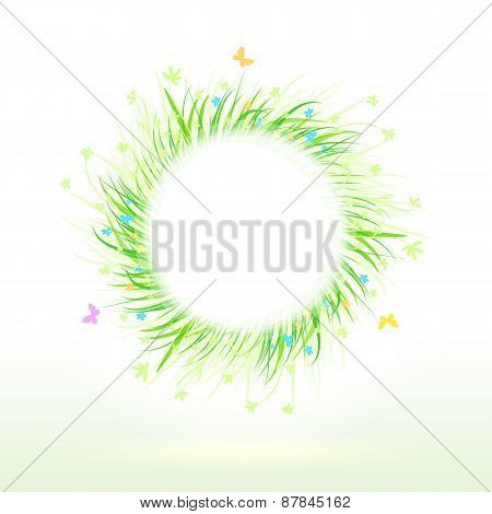 Summer Green Grass Circle Frame For Your Text