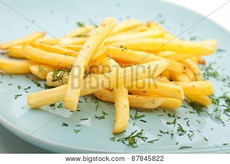 French Fries Garnished with Greens