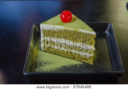 Japanese Matcha Green tea cake tea and cake