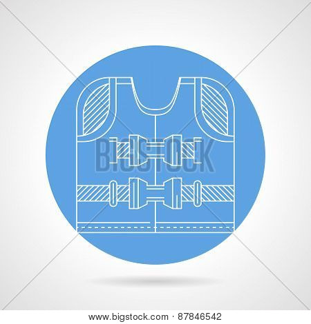 Life jacket white line vector icon