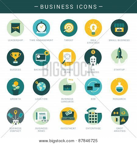 Set of modern business icons