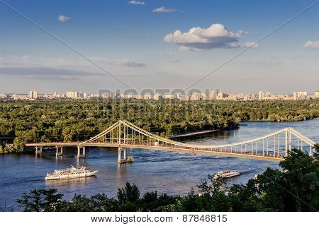 Parkovyi Bridge To The Trukhaniv Island.