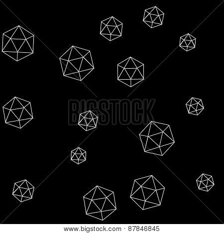 Geometric simple monochrome minimalistic pattern of hexagon or icosahedron  shapes