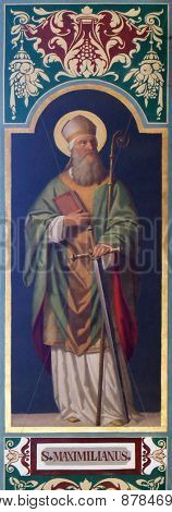 BAD ISCHL, AUSTRIA - DECEMBER 14: Saint Maximilian fresco painting in parish church of St. Nicholas in Bad Ischl, Austria on December 14, 2014.