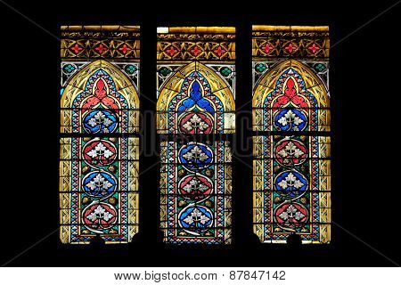 ZAGREB, CROATIA - APRIL 04: Stained glass in Zagreb cathedral dedicated to the Assumption of Mary and to kings Saint Stephen and Saint Ladislaus in Zagreb on April 04, 2015