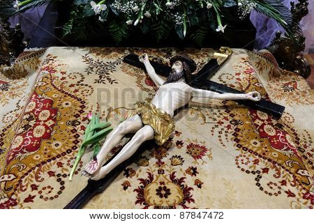 ZAGREB, CROATIA - 04 APRIL: The crucifix in front of God's tomb, was exhibited on Holy Saturday and prepared for veneration in the Zagreb Cathedral on April 04, 2015
