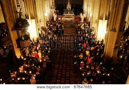 ZAGREB, CROATIA - 04 APRIL: Easter vigil mass on Holy Saturday in the Zagreb Cathedral on April 04, 2015