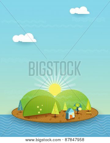 Illustration Vector, House On Peaceful Island, Sun With Blue Sky Background