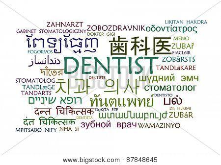 Background concept wordcloud multilanguage international many language illustration of dentist