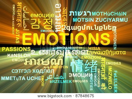Background concept wordcloud multilanguage international many language illustration of emotions glowing light