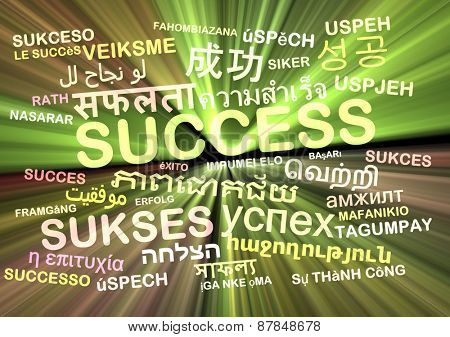 Background concept wordcloud multilanguage international many language illustration of success glowing light