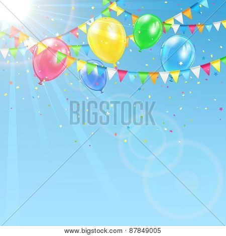 Balloons On Sky Background