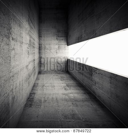 3D Empty Dark Concrete Interior With White Window Opening