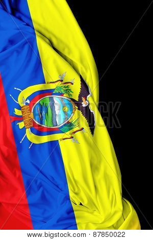 Ecuadorian waving flag on black background