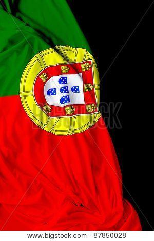 Portuguese waving flag on black background