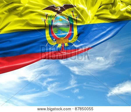 Ecuadorian waving flag on a beautiful background