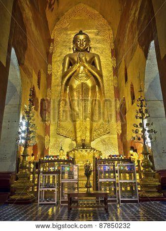 Revered Standing Buddha Statue In Ananda Temple, Bagan, Myanmar (burma)