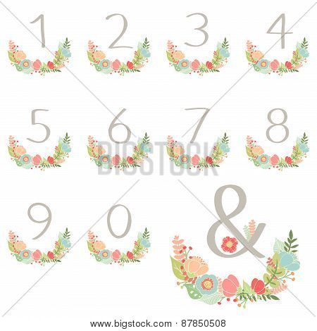 Numeric Hand Drawn Wreath Table Card