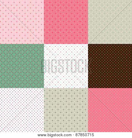 Set Of Green - Pink Polka Dot Textures