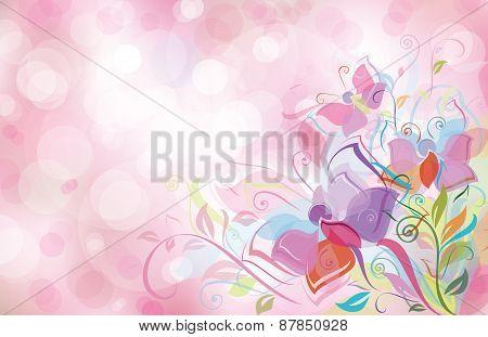 Vector pink bokeh floral background.