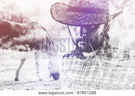 Cowboy Farmer Wearing Straw Hat On Horse Ranch