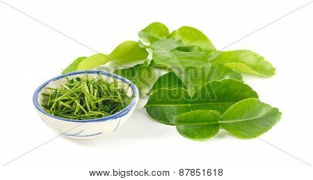 Fresh Kaffir Leaf On White Background