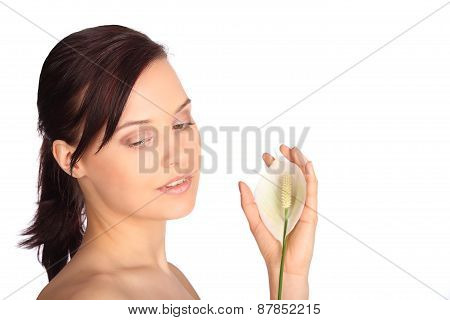Close-up Image Of A Beautiful Woman Holding Flower In Spa