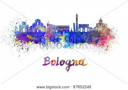 Bologna Skyline In Watercolor