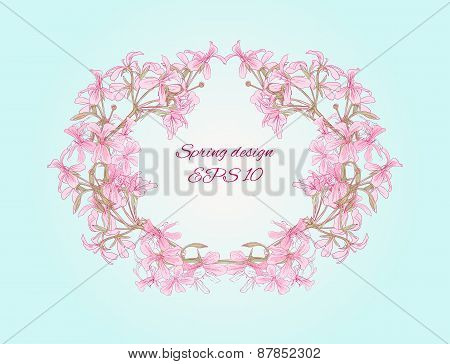 oval frame made of romantic flowers