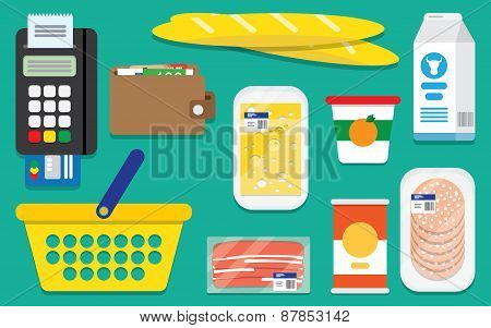 Set Supermarket Vector Icons
