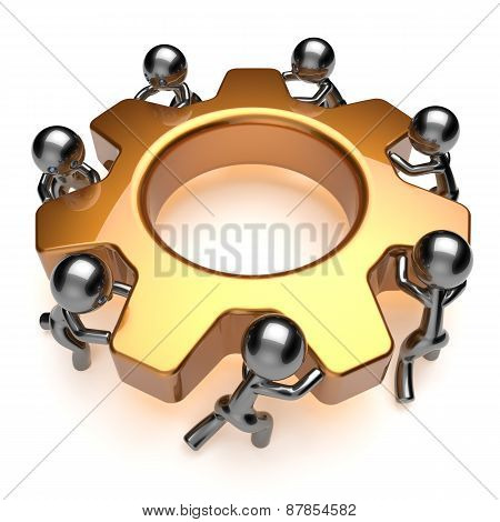 Teamwork Business Process Workers Unity Turning Gear