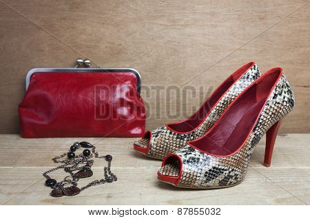 Pair of red snake shoes