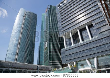SINGAPORE - FEBRUARY 18, 2015: Skyscrapers in the Central Business District of Singapore. There are many international and national corporations and companies in the buildings.