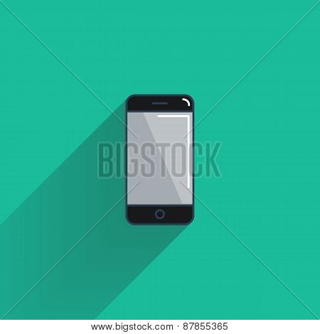 Smartphone flat icon with long shadow.