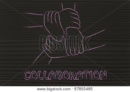 Collaboration, Sharing Work And Team Work: Hands Holding One Another