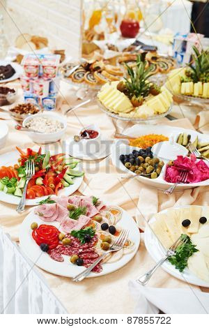 restaurant buffet catering service. food at morning breakfast smorgasbord.