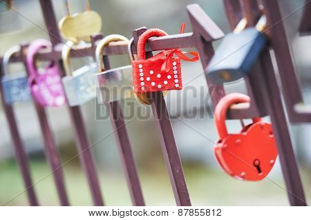 Decorated Love Lock as a symbol of relationship faithfulness