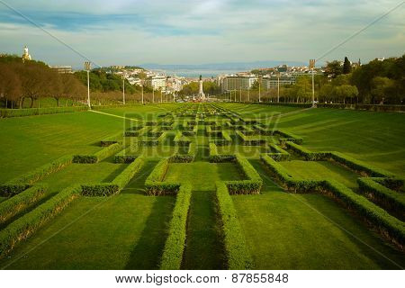 View of the gardens of Edward VII Park in Lisbon Portugal