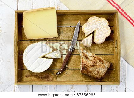 Tray Different French Cheeses With Bread