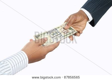 Business people holding Indian money