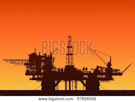 Sea oil rig at sunset. Oil platform in the sea.